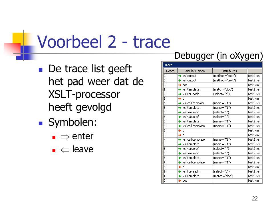 22 Voorbeel 2 - trace De trace list geeft het pad weer dat de XSLT-processor heeft gevolgd Symbolen:  enter  leave Debugger (in oXygen)