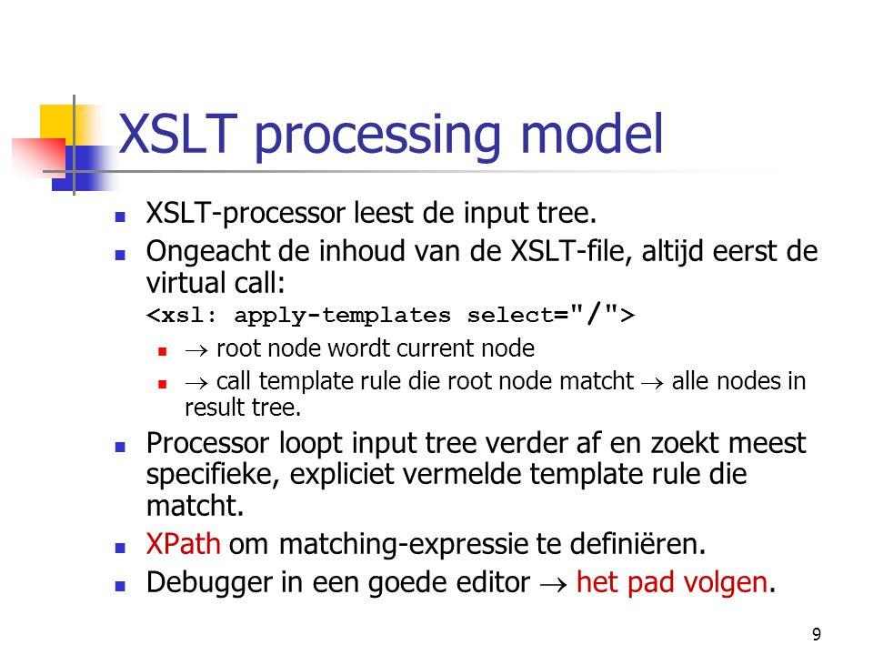 9 XSLT processing model XSLT-processor leest de input tree. Ongeacht de inhoud van de XSLT-file, altijd eerst de virtual call:  root node wordt curre