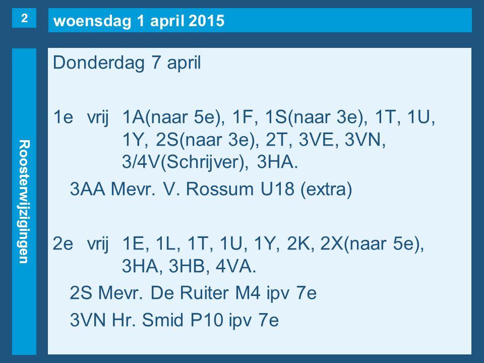 woensdag 1 april 2015 Roosterwijzigingen Donderdag 7 april 3evrij1F, 1U, 1Y, 2F, 2T.