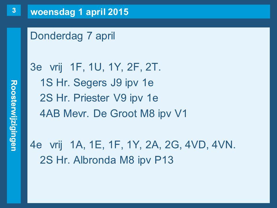 woensdag 1 april 2015 Roosterwijzigingen Donderdag 7 april 5evrij1B, 1C, 1F, 1K/L(Frank), 1Y, 2E, 2F, 2S, 3VC, 3HA, 3HB, 3AA, 4VN.