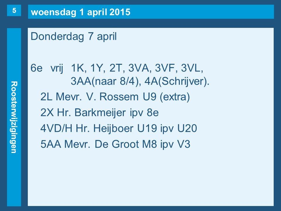 woensdag 1 april 2015 Roosterwijzigingen Donderdag 7 april 7evrij2S(naar 2e), 3VA/L(naar 5/4), 3VK, 3VN, 3HB, 3AA, 4VC, 4H(vd Broek).