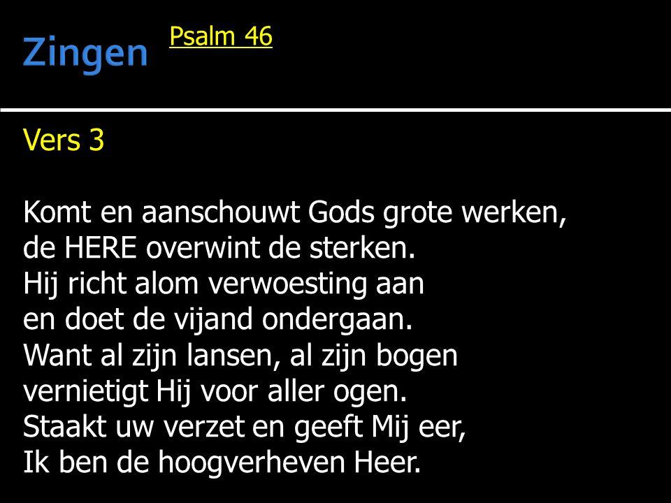 Vers 3 Komt en aanschouwt Gods grote werken, de HERE overwint de sterken. Hij richt alom verwoesting aan en doet de vijand ondergaan. Want al zijn lan