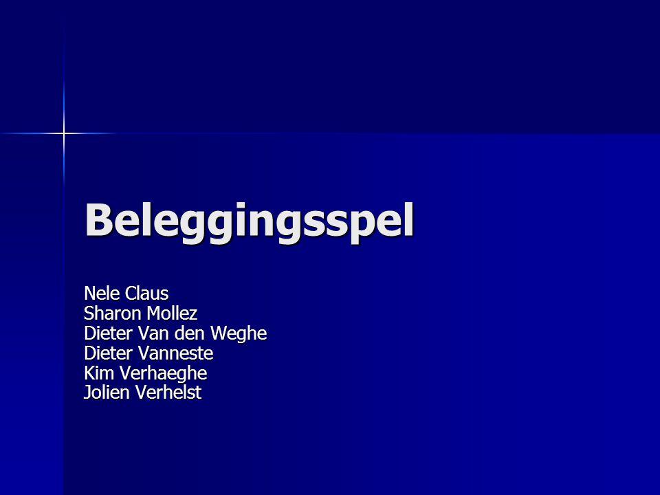 Beleggingsspel Nele Claus Sharon Mollez Dieter Van den Weghe Dieter Vanneste Kim Verhaeghe Jolien Verhelst