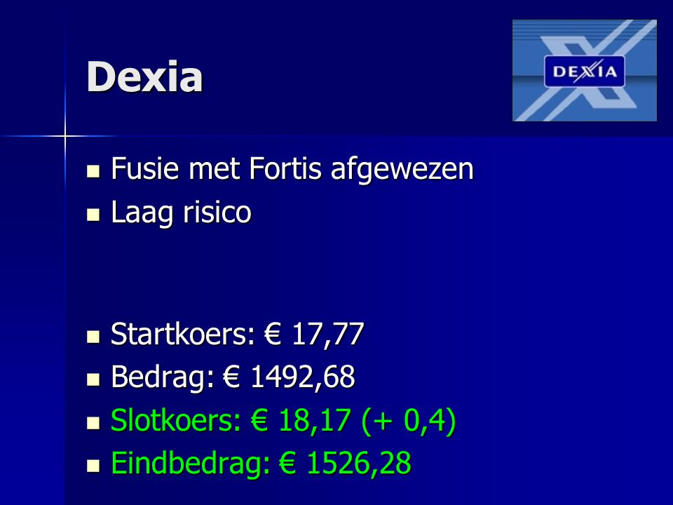 Dexia Fusie met Fortis afgewezen Fusie met Fortis afgewezen Laag risico Laag risico Startkoers: € 17,77 Startkoers: € 17,77 Bedrag: € 1492,68 Bedrag: