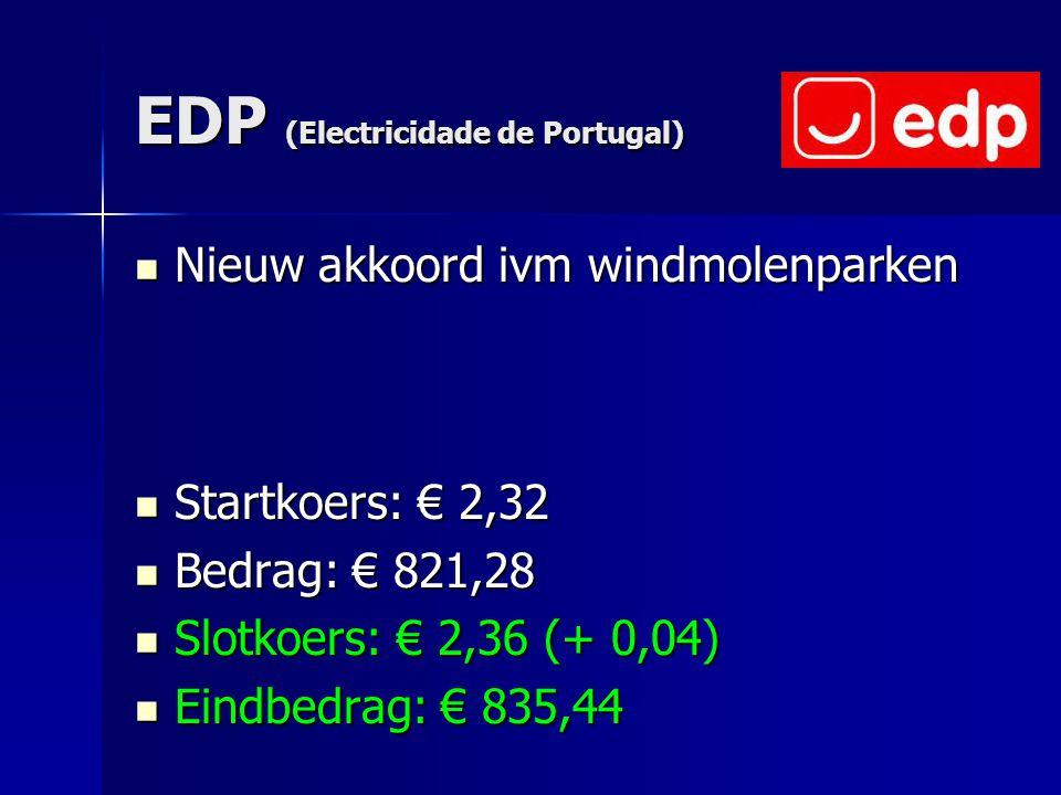 EDP (Electricidade de Portugal) Nieuw akkoord ivm windmolenparken Nieuw akkoord ivm windmolenparken Startkoers: € 2,32 Startkoers: € 2,32 Bedrag: € 82