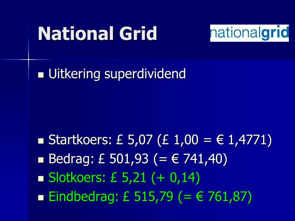 National Grid Uitkering superdividend Uitkering superdividend Startkoers: £ 5,07 (£ 1,00 = € 1,4771) Startkoers: £ 5,07 (£ 1,00 = € 1,4771) Bedrag: £