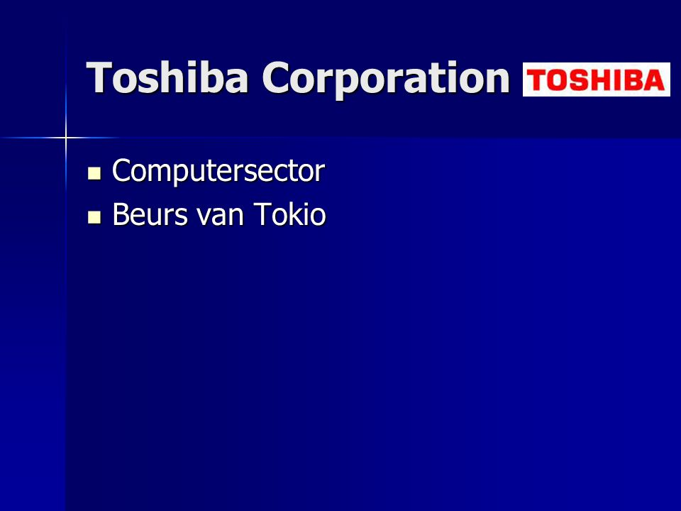 Toshiba Corporation Computersector Computersector Beurs van Tokio Beurs van Tokio