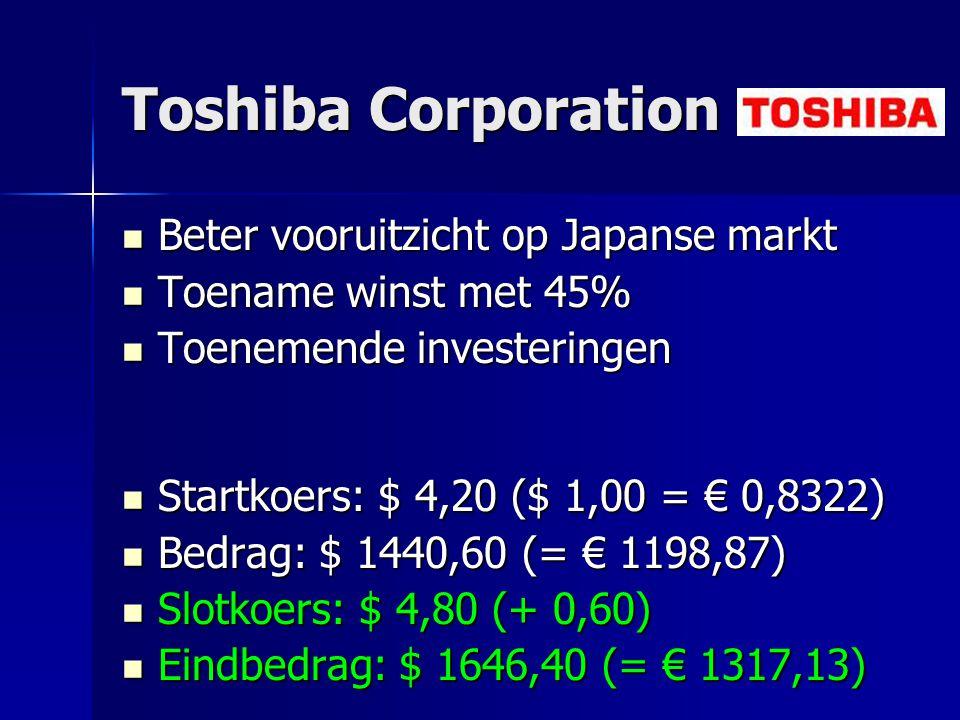 Toshiba Corporation Beter vooruitzicht op Japanse markt Beter vooruitzicht op Japanse markt Toename winst met 45% Toename winst met 45% Toenemende inv