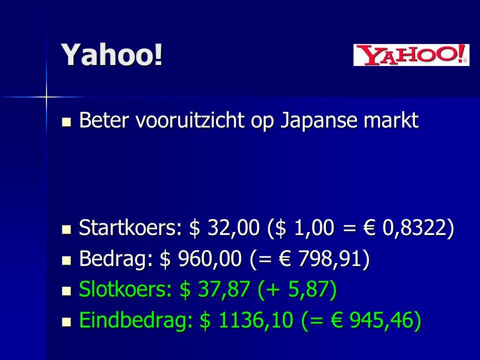 Yahoo! Beter vooruitzicht op Japanse markt Beter vooruitzicht op Japanse markt Startkoers: $ 32,00 ($ 1,00 = € 0,8322) Startkoers: $ 32,00 ($ 1,00 = €