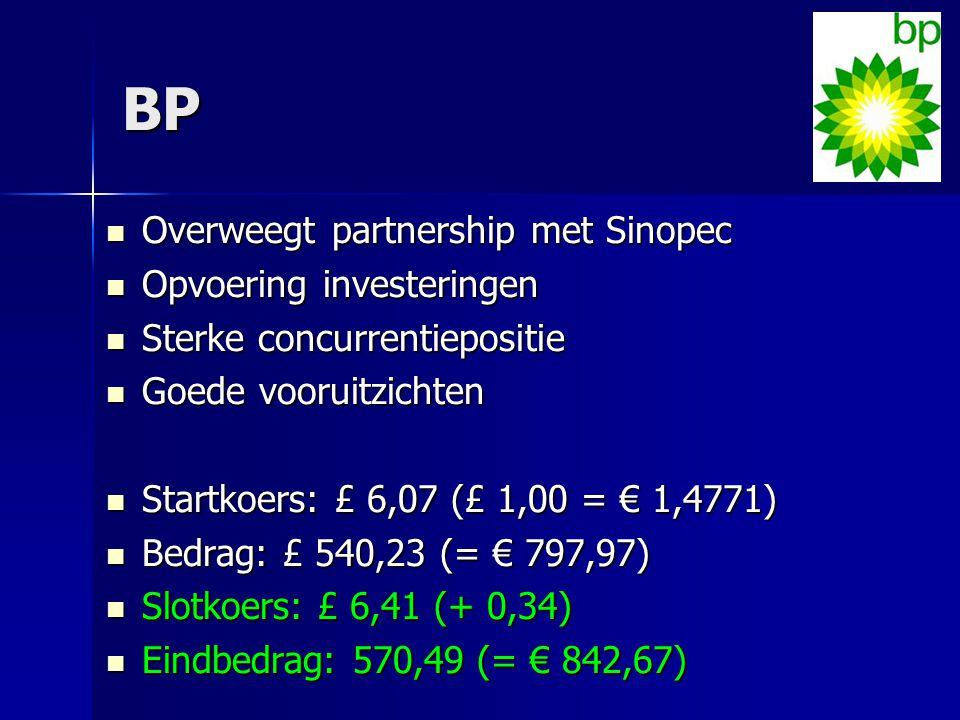 BP Overweegt partnership met Sinopec Overweegt partnership met Sinopec Opvoering investeringen Opvoering investeringen Sterke concurrentiepositie Ster