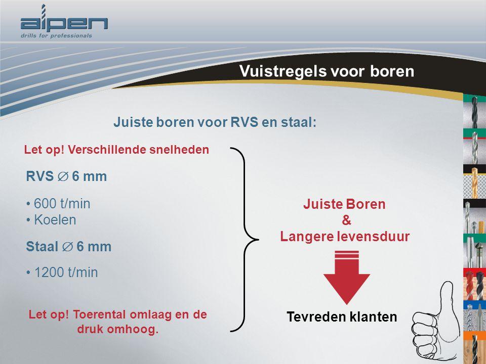 Vuistregels voor boren RVS  6 mm 600 t/min Koelen Juiste Boren & Langere  levensduur Juiste boren voor RVS en staal: Tevreden klanten Let op! Toere