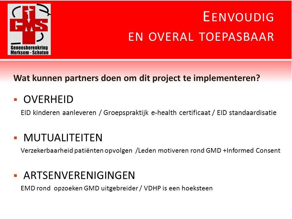 E ENVOUDIG EN OVERAL TOEPASBAAR Wat kunnen partners doen om dit project te implementeren.