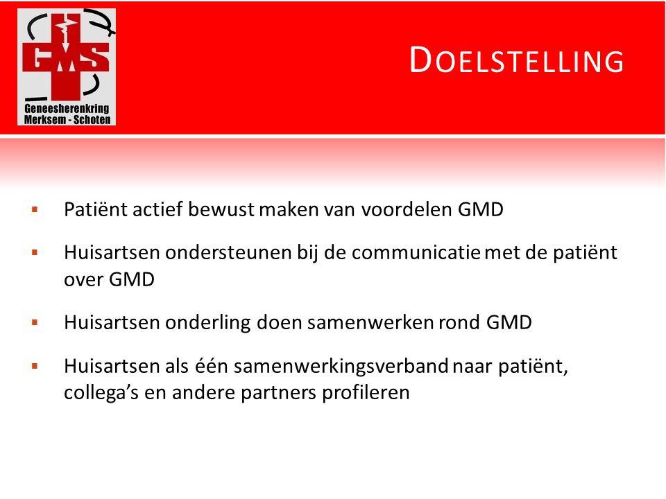 D OELSTELLING  Patiënt actief bewust maken van voordelen GMD  Huisartsen ondersteunen bij de communicatie met de patiënt over GMD  Huisartsen onderling doen samenwerken rond GMD  Huisartsen als één samenwerkingsverband naar patiënt, collega's en andere partners profileren
