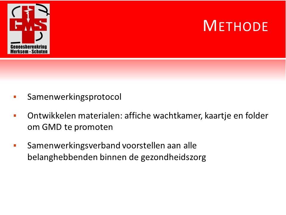 M ETHODE  Samenwerkingsprotocol  Ontwikkelen materialen: affiche wachtkamer, kaartje en folder om GMD te promoten  Samenwerkingsverband voorstellen aan alle belanghebbenden binnen de gezondheidszorg