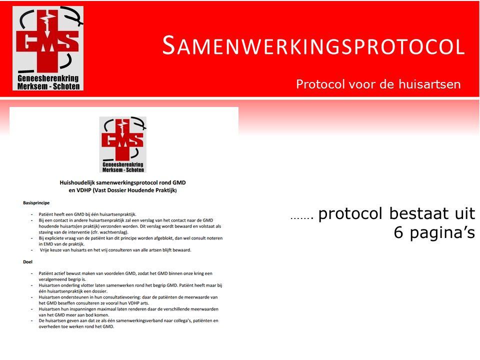 S AMENWERKINGSPROTOCOL Protocol voor de huisartsen ……. protocol bestaat uit 6 pagina's