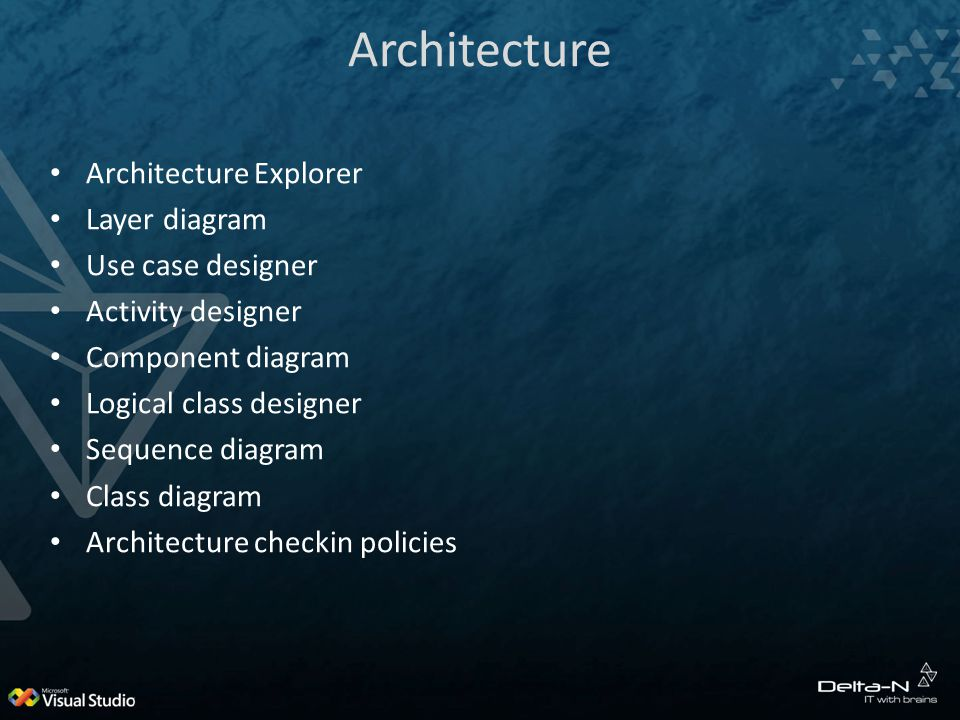 Architecture Architecture Explorer Layer diagram Use case designer Activity designer Component diagram Logical class designer Sequence diagram Class diagram Architecture checkin policies