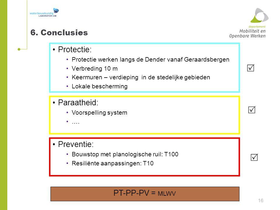 6. Conclusies Protectie: Protectie werken langs de Dender vanaf Geraardsbergen Verbreding 10 m Keermuren – verdieping in de stedelijke gebieden Lokale