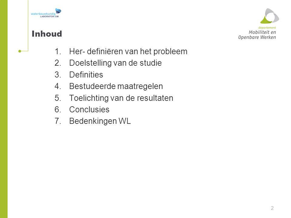 Inhoud 1.Her- definiëren van het probleem 2.Doelstelling van de studie 3.Definities 4.Bestudeerde maatregelen 5.Toelichting van de resultaten 6.Conclu