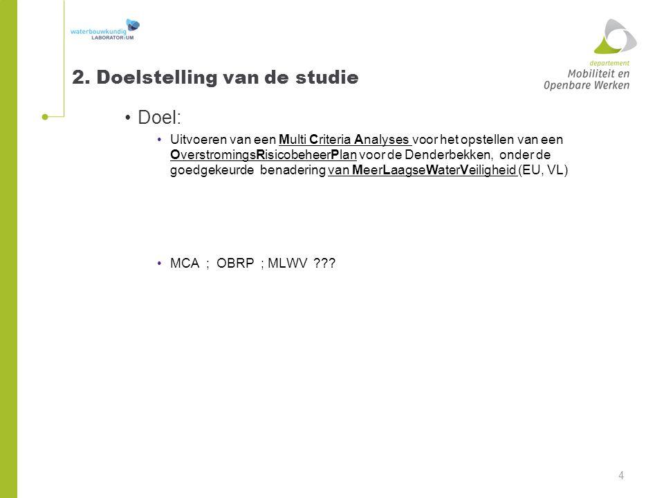 2. Doelstelling van de studie Doel: Uitvoeren van een Multi Criteria Analyses voor het opstellen van een OverstromingsRisicobeheerPlan voor de Denderb