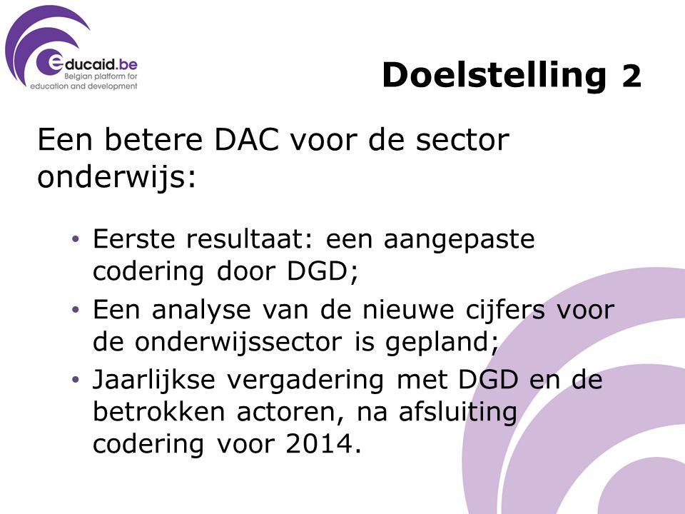 Een betere DAC voor de sector onderwijs: Eerste resultaat: een aangepaste codering door DGD; Een analyse van de nieuwe cijfers voor de onderwijssector is gepland; Jaarlijkse vergadering met DGD en de betrokken actoren, na afsluiting codering voor 2014.
