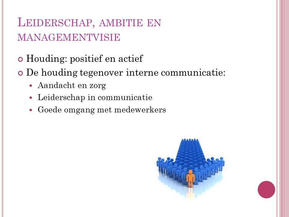 L EIDERSCHAP, AMBITIE EN MANAGEMENTVISIE Houding: positief en actief De houding tegenover interne communicatie: Aandacht en zorg Leiderschap in commun