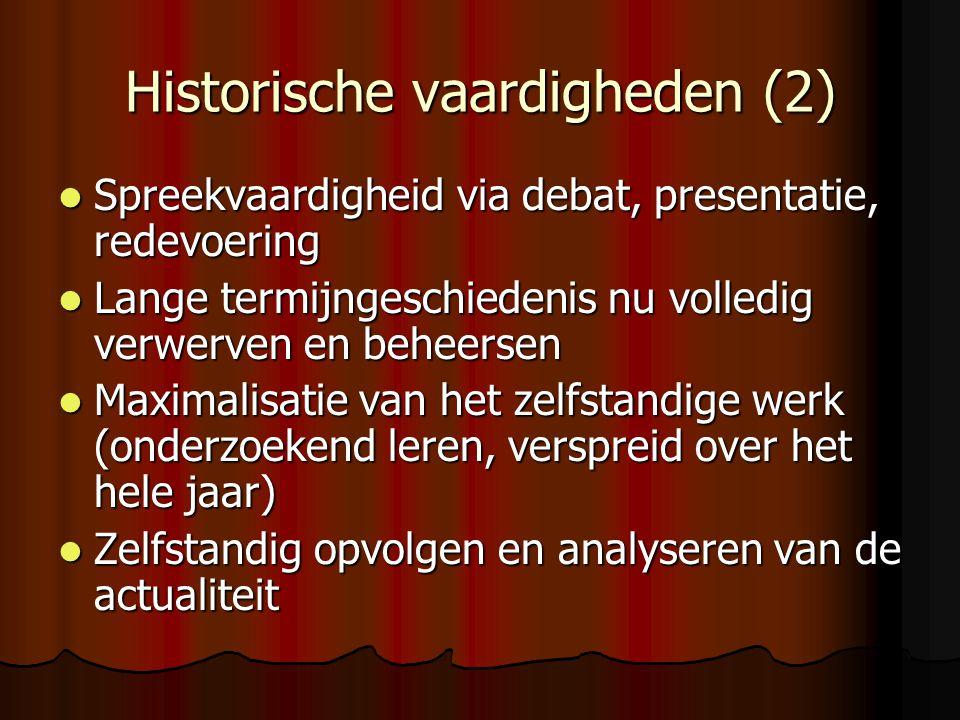 Historische vaardigheden (2) Spreekvaardigheid via debat, presentatie, redevoering Spreekvaardigheid via debat, presentatie, redevoering Lange termijn