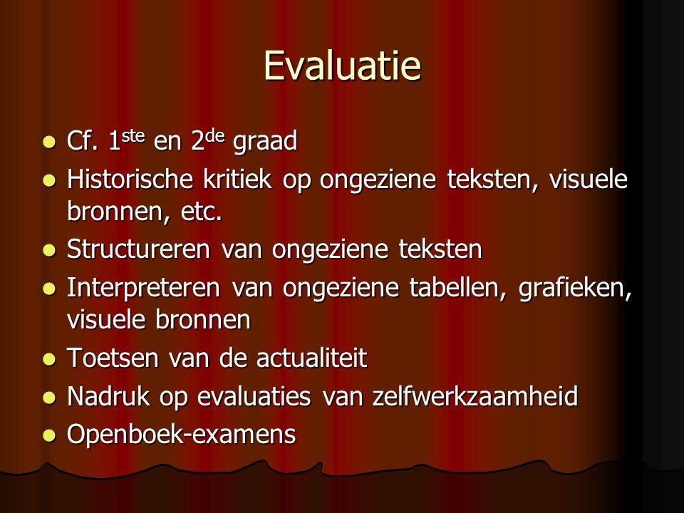 Evaluatie Cf. 1 ste en 2 de graad Cf. 1 ste en 2 de graad Historische kritiek op ongeziene teksten, visuele bronnen, etc. Historische kritiek op ongez