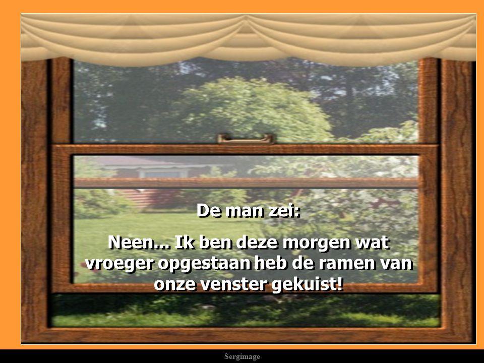 Sergimage Een maand later, was de vrouw verrast van een propere was te zien bij de buurvrouw en zei tot haar man: Kijk.