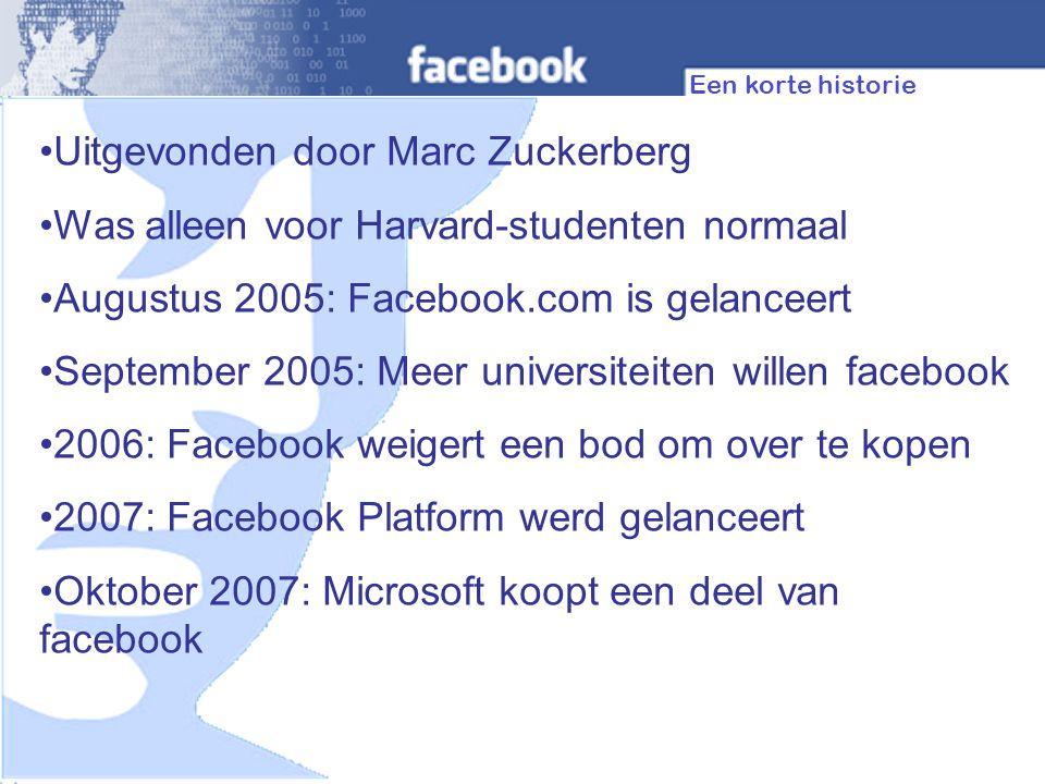 How it Compares… -Stats FacebookMySpace Huidige gebruikers 50 Million185 Million Dagelijkse nieuwe gebruikers 200,000350,000 leeftijdsgroep18-2414-18 Statistics correct as at November 2007