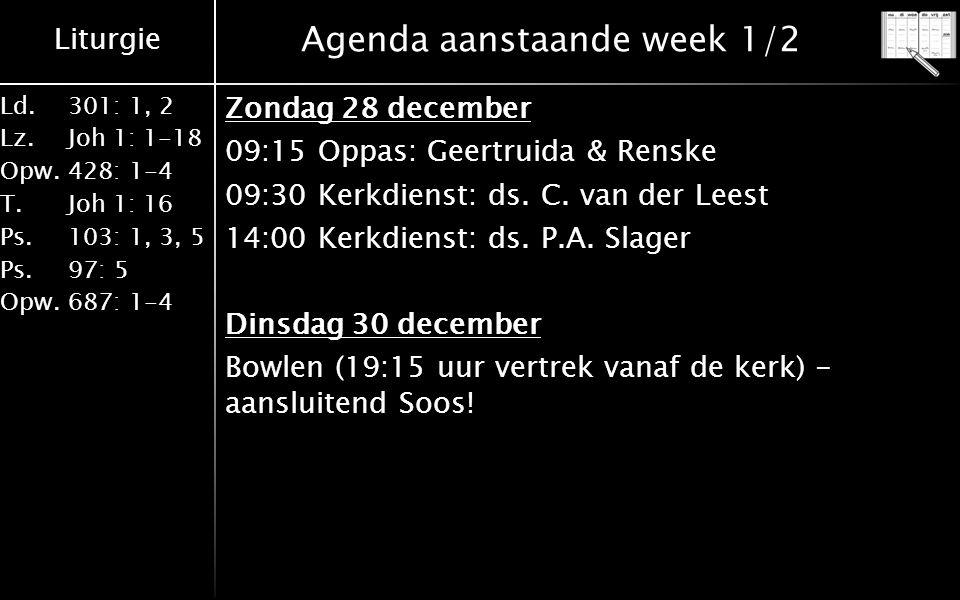 Liturgie Ld.301: 1, 2 Lz.Joh 1: 1-18 Opw.428: 1-4 T.Joh 1: 16 Ps.103: 1, 3, 5 Ps. 97: 5 Opw.687: 1-4 Agenda aanstaande week 1/2 Zondag 28 december 09: