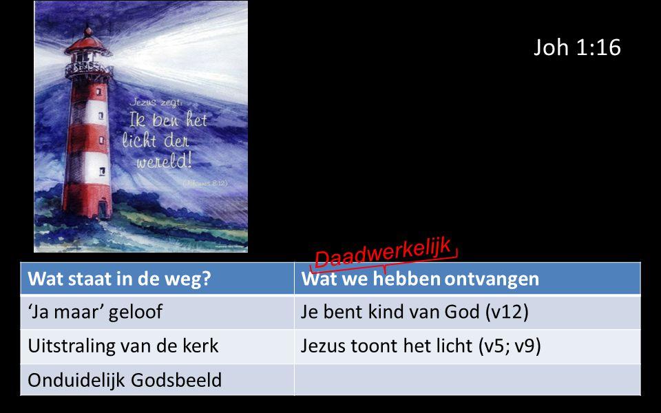 Joh 1:16 Wat staat in de weg Wat we hebben ontvangen 'Ja maar' geloofJe bent kind van God (v12) Uitstraling van de kerkJezus toont het licht (v5; v9) Onduidelijk Godsbeeld Daadwerkelijk