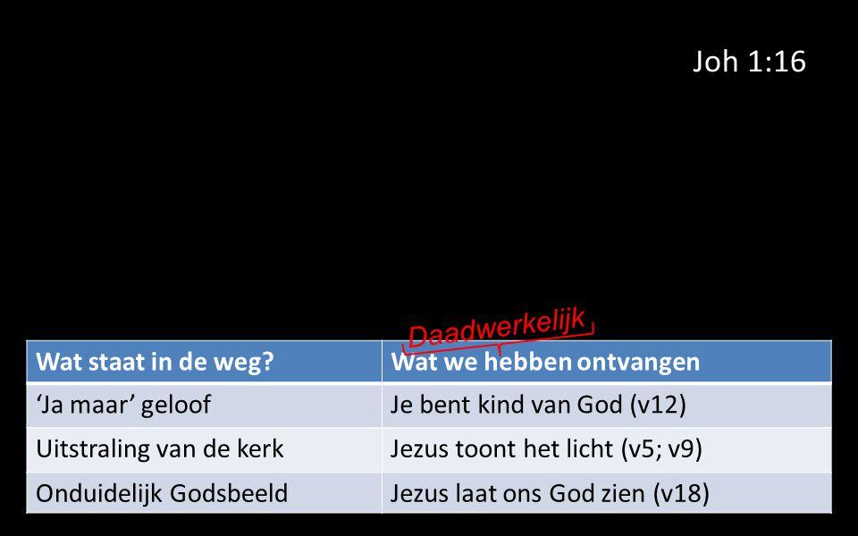 Joh 1:16 Wat staat in de weg Wat we hebben ontvangen 'Ja maar' geloofJe bent kind van God (v12) Uitstraling van de kerkJezus toont het licht (v5; v9) Onduidelijk GodsbeeldJezus laat ons God zien (v18) Daadwerkelijk