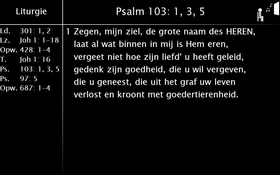 Liturgie Ld.301: 1, 2 Lz.Joh 1: 1-18 Opw.428: 1-4 T.Joh 1: 16 Ps.103: 1, 3, 5 Ps. 97: 5 Opw.687: 1-4 Psalm 103: 1, 3, 5 1Zegen, mijn ziel, de grote na