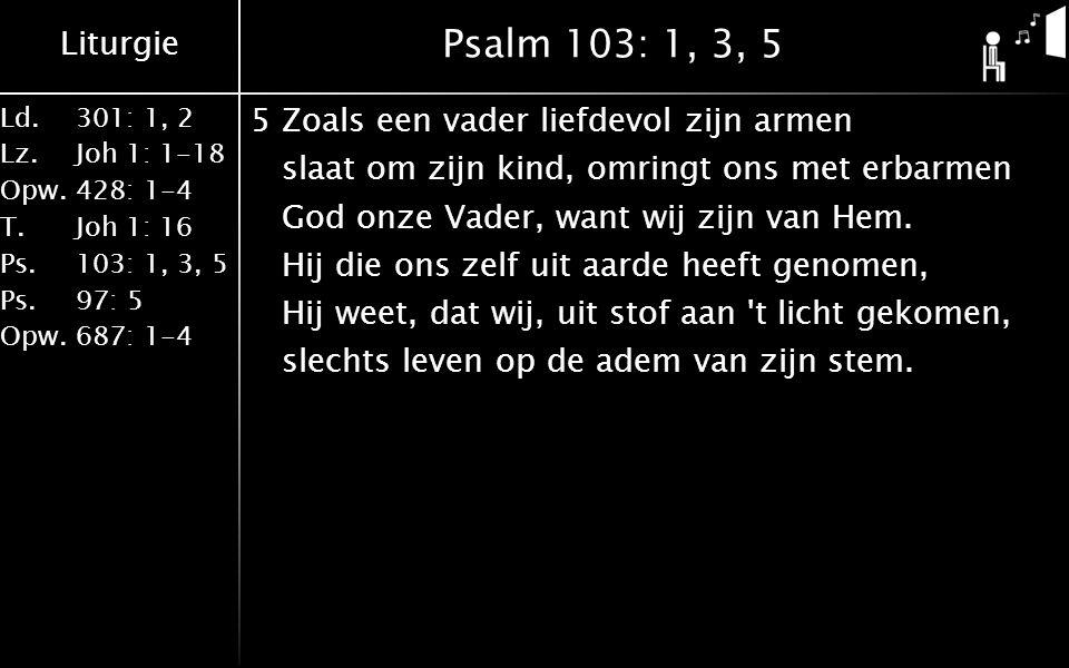 Liturgie Ld.301: 1, 2 Lz.Joh 1: 1-18 Opw.428: 1-4 T.Joh 1: 16 Ps.103: 1, 3, 5 Ps. 97: 5 Opw.687: 1-4 Psalm 103: 1, 3, 5 5Zoals een vader liefdevol zij