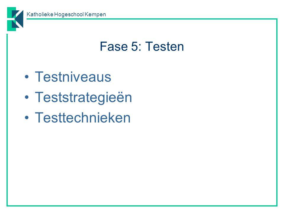 Katholieke Hogeschool Kempen Fase 5: Testen Testniveaus Teststrategieën Testtechnieken