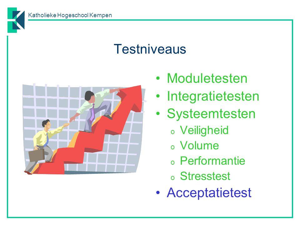 Katholieke Hogeschool Kempen Testniveaus Moduletesten Integratietesten Systeemtesten o Veiligheid o Volume o Performantie o Stresstest Acceptatietest