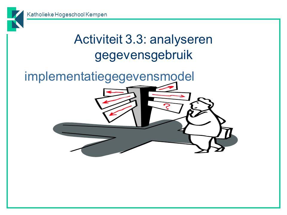 Katholieke Hogeschool Kempen Activiteit 3.3: analyseren gegevensgebruik implementatiegegevensmodel