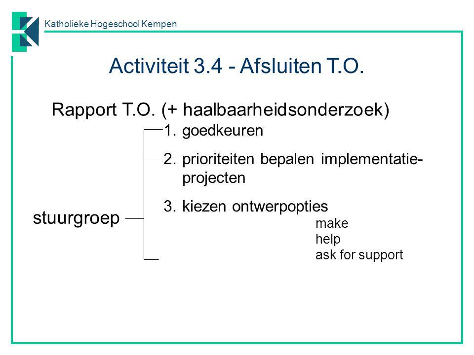 Katholieke Hogeschool Kempen Rapport T.O. (+ haalbaarheidsonderzoek) 1.goedkeuren 2.prioriteiten bepalen implementatie- projecten 3.kiezen ontwerpopti