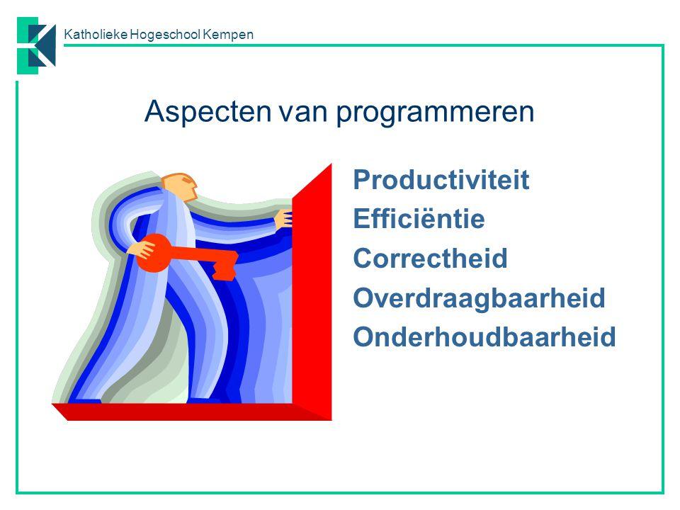 Katholieke Hogeschool Kempen Aspecten van programmeren Productiviteit Efficiëntie Correctheid Overdraagbaarheid Onderhoudbaarheid