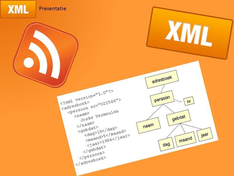 Inhoud Wat is XML? De opbouw van XML Wat is XSL? De opbouw van XSL Toepassing RSS