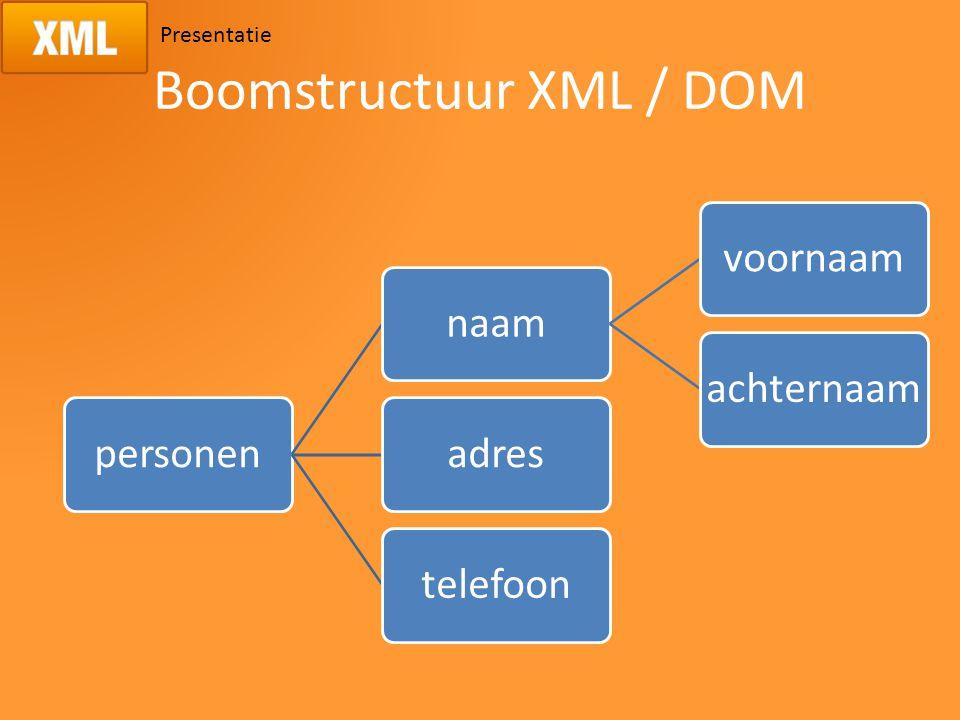Presentatie Boomstructuur XML / DOM personennaamvoornaamachternaamadrestelefoon