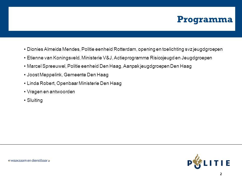 2 Programma Dionies Almeida Mendes, Politie eenheid Rotterdam, opening en toelichting svz jeugdgroepen Etienne van Koningsveld, Ministerie V&J, Actiep