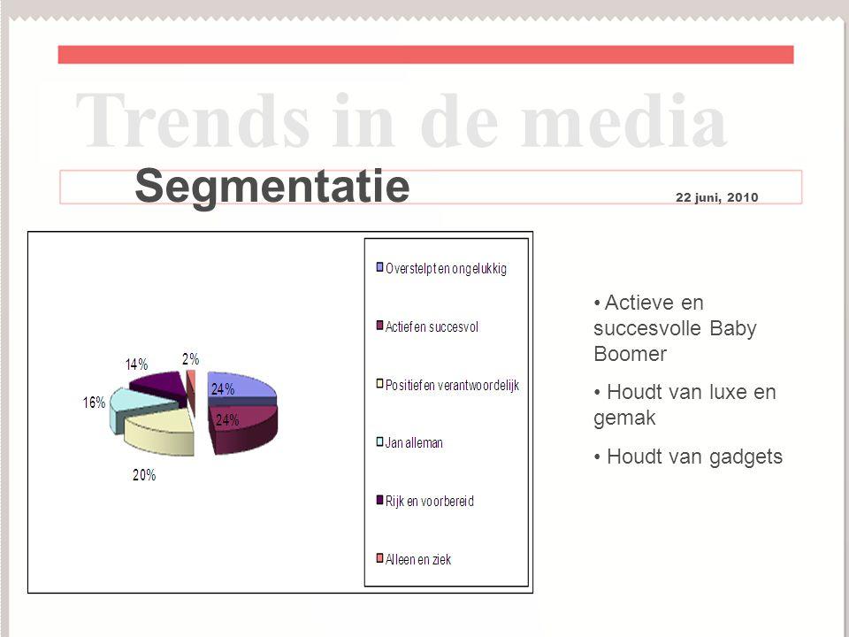7 Trends in de media Segmentatie 22 juni, 2010 Actieve en succesvolle Baby Boomer Houdt van luxe en gemak Houdt van gadgets