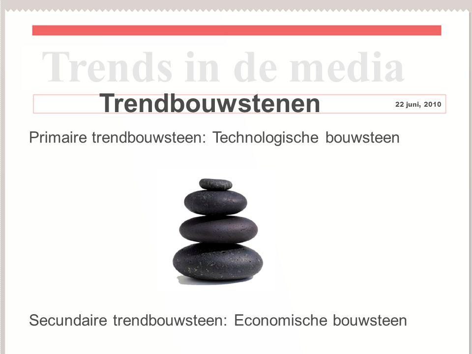 8 Trendbouwstenen Trends in de media 22 juni, 2010 Primaire trendbouwsteen: Technologische bouwsteen Secundaire trendbouwsteen: Economische bouwsteen