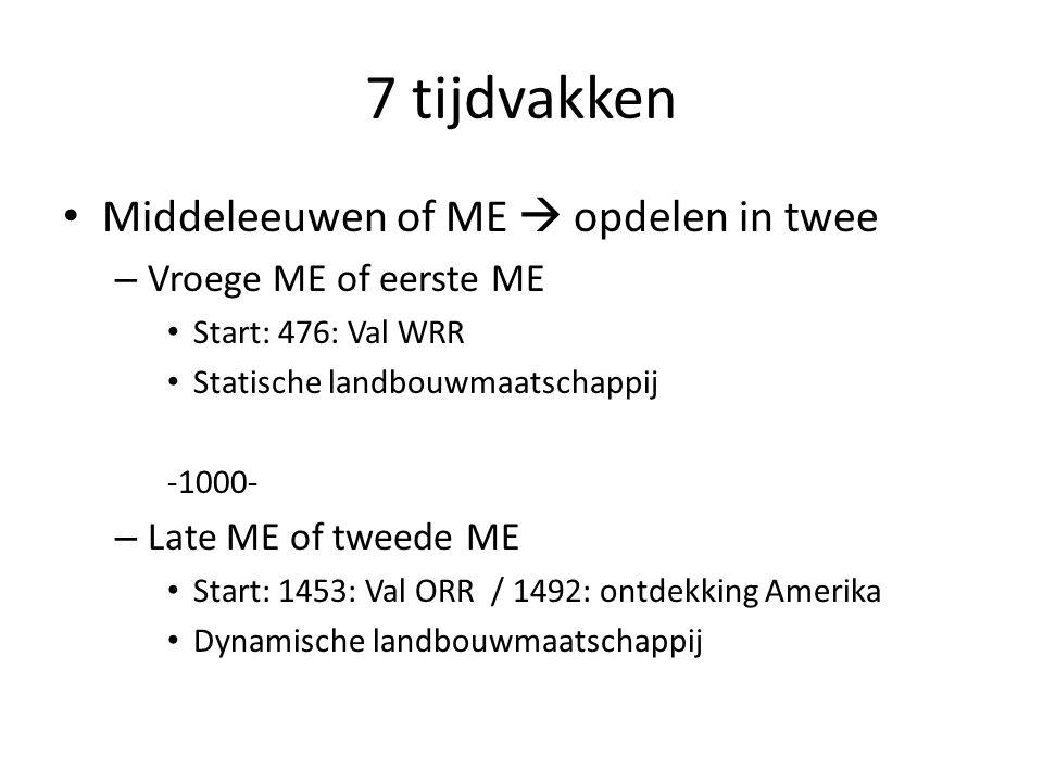7 tijdvakken Middeleeuwen of ME  opdelen in twee – Vroege ME of eerste ME Start: 476: Val WRR Statische landbouwmaatschappij -1000- – Late ME of twee