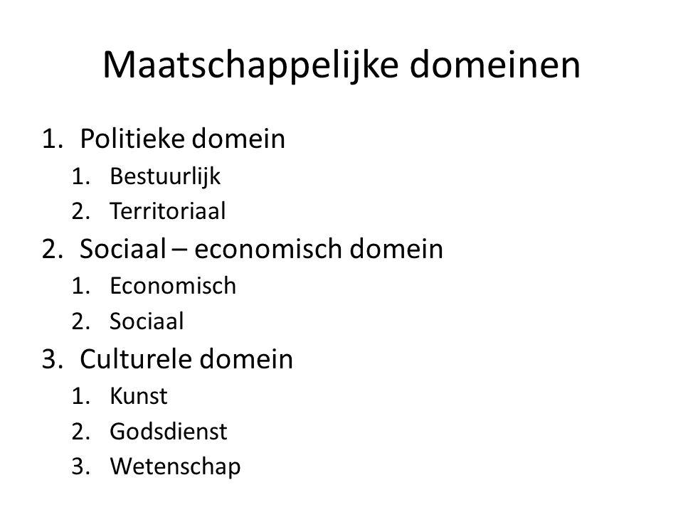 Maatschappelijke domeinen 1.Politieke domein 1.Bestuurlijk 2.Territoriaal 2.Sociaal – economisch domein 1.Economisch 2.Sociaal 3.Culturele domein 1.Ku
