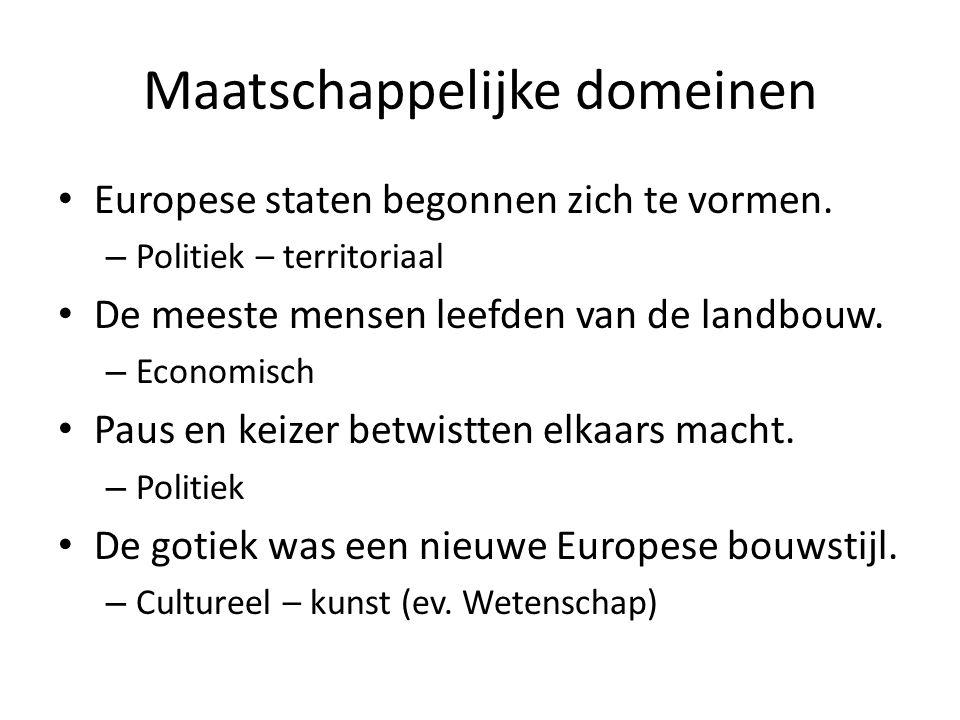 Maatschappelijke domeinen Europese staten begonnen zich te vormen. – Politiek – territoriaal De meeste mensen leefden van de landbouw. – Economisch Pa