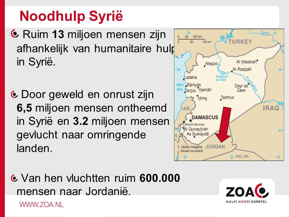 Noodhulp Syrië Ruim 13 miljoen mensen zijn afhankelijk van humanitaire hulp in Syrië. Door geweld en onrust zijn 6,5 miljoen mensen ontheemd in Syrië
