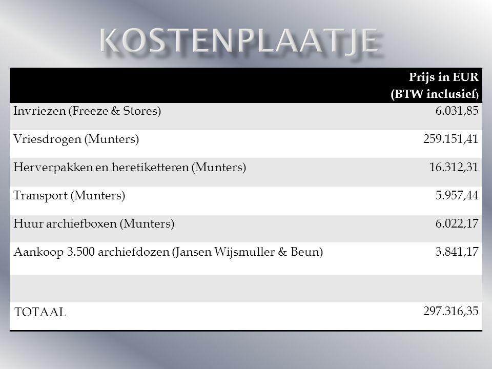 Prijs in EUR (BTW inclusief) Invriezen (Freeze & Stores)6.031,85 Vriesdrogen (Munters)259.151,41 Herverpakken en heretiketteren (Munters)16.312,31 Transport (Munters)5.957,44 Huur archiefboxen (Munters)6.022,17 Aankoop 3.500 archiefdozen (Jansen Wijsmuller & Beun) 3.841,17 TOTAAL 297.316,35 Prijs in EUR (BTW inclusief ) Invriezen (Freeze & Stores)6.031,85 Vriesdrogen (Munters)259.151,41 Herverpakken en heretiketteren (Munters)16.312,31 Transport (Munters)5.957,44 Huur archiefboxen (Munters)6.022,17 Aankoop 3.500 archiefdozen (Jansen Wijsmuller & Beun)3.841,17 TOTAAL 297.316,35