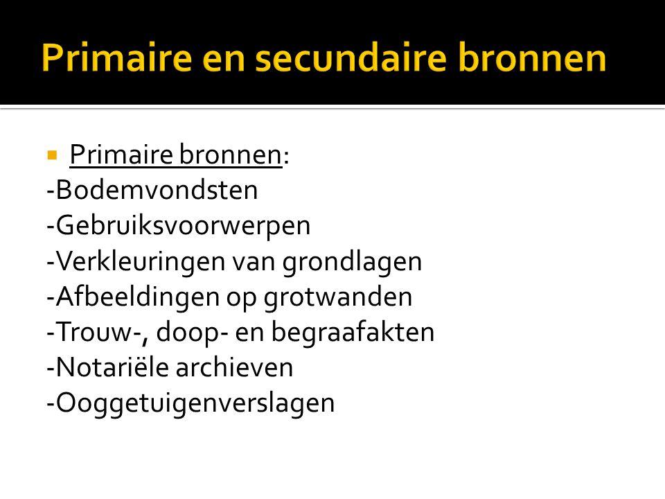  Primaire bronnen: -Bodemvondsten -Gebruiksvoorwerpen -Verkleuringen van grondlagen -Afbeeldingen op grotwanden -Trouw-, doop- en begraafakten -Notar